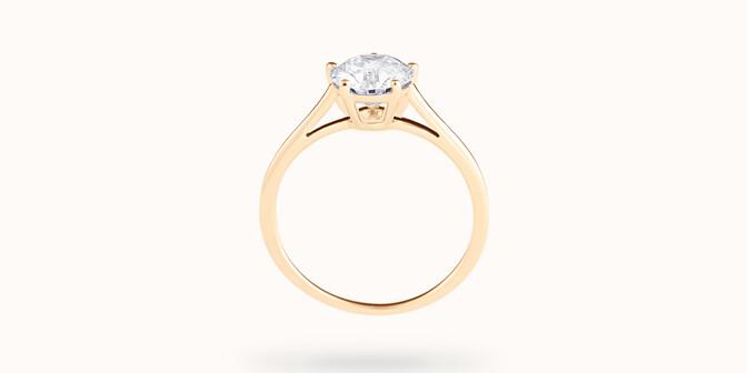 Bague solitaire cinq griffes - Or jaune 18K (1,80 g), diamant 0,5 ct - Profil - Courbet
