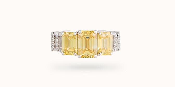 Bague Haute Joaillerie - Or blanc 18K (4,10 g), diamants jaunes et blancs 4,10 cts - Courbet