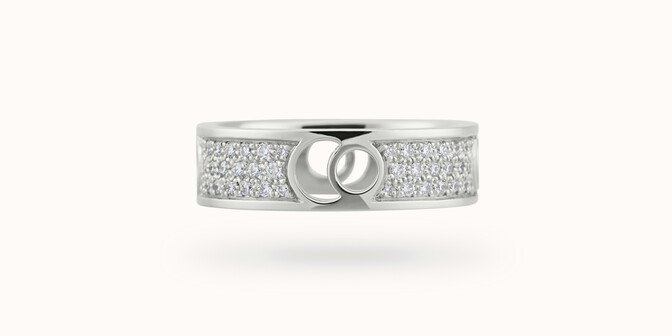 Bague Eclipse grand modèle - Or blanc 18K (7,80 g), diamants 0,70 ct - Face
