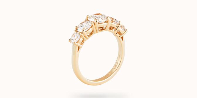 Bague solitaire Quintet - Or jaune 18K (4,50 g), 5 diamants 1,20 cts - Côté