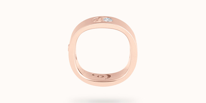 Bague Eclipse grand modèle - Or rose 18K (7,80 g), 4 diamants 0,40 ct - Profil - Courbet