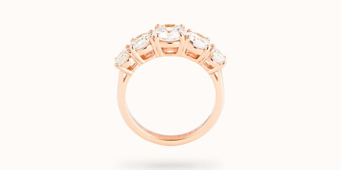 Bague solitaire Quintet - Or rose 18K (4,50 g), 5 diamants 1,20 cts - Profil