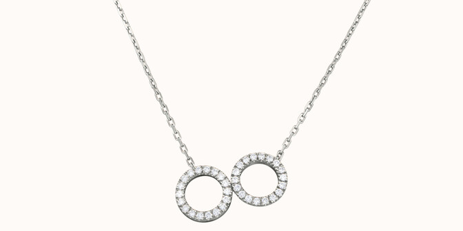 Collier - Or blanc 18K (4,90 g), diamants 0,36 cts - Face - Courbet
