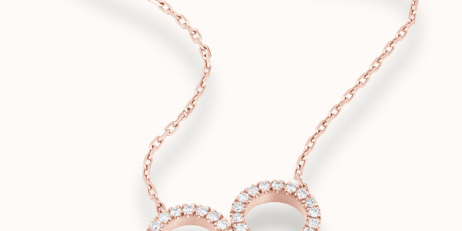 Collier - Or rose 18K (4,90 g), diamants 0,36 cts - Mouvement - Courbet