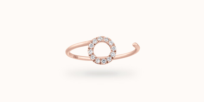 Bague O2 - Or rose 18K (0,90 g), diamants 0,10 ct - Courbet