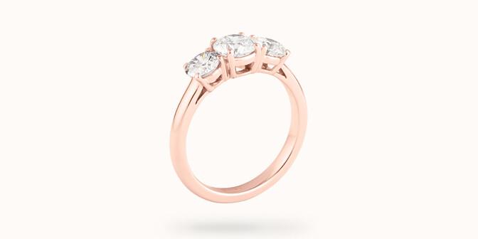 Bague solitaire Trio - Or rose 18K (4,30 g), 3 diamants 1,45 cts - Côté