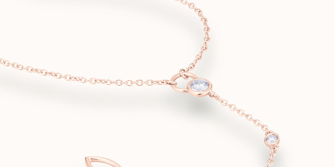 Collier CO - Or rose 18K (3,70 g), diamants 0,25 cts - Mouvement
