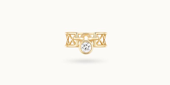 Bague Pont des Arts - Or jaune 18K (5,80 g), diamant 0,40 ct - Face - Courbet