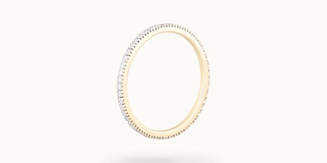 Alliance full-pavée (1 mm) - Or jaune 18K (1,00 g), diamants 0,30 ct - Côté