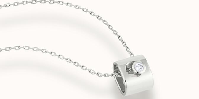 Collier Eclipse - Or blanc 18K (6,30 g), diamant 0,1 ct - Mouvement