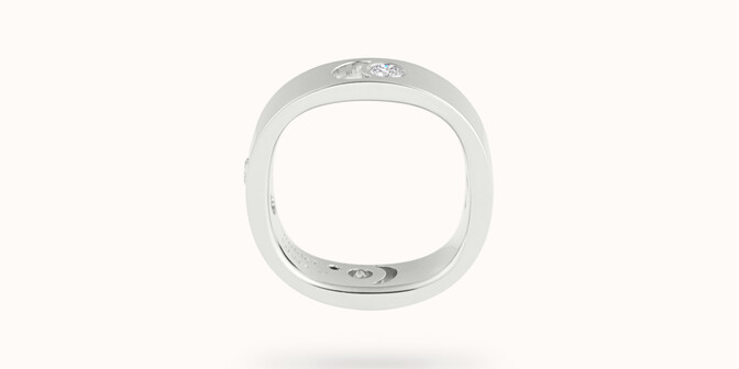 Bague Eclipse grand modèle - Or blanc 18K (7,80 g), 4 diamants 0,40 ct - Profil - Courbet