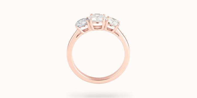 Bague solitaire Trio - Or rose 18K (4,30 g), 3 diamants 1,45 cts - Profil