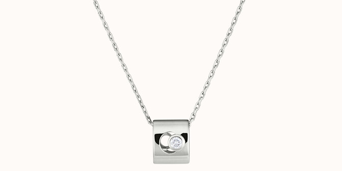 Collier Eclipse - Or blanc 18K (6,30 g), diamant 0,1 ct - Face