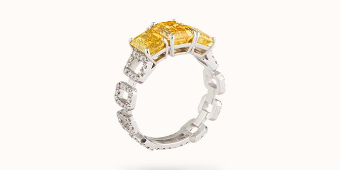 Bague Haute Joaillerie - Or blanc 18K (4,10 g), diamants jaunes et blancs 4,10 cts - Côté - Courbet
