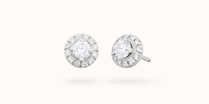 Boucles d'oreilles - Or blanc 18K (2,50 g), diamants 0,55 carats