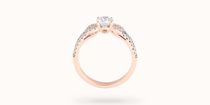 Bague fiançailles Infinity - Or rose 18K (3,90 g), diamants 0,70 ct - Profil