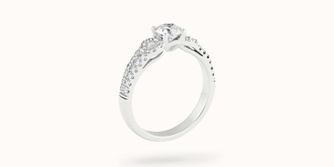 Bague fiançailles Infinity - Or blanc 18K (4,00 g), diamants 1,05 cts - Côté - Courbet
