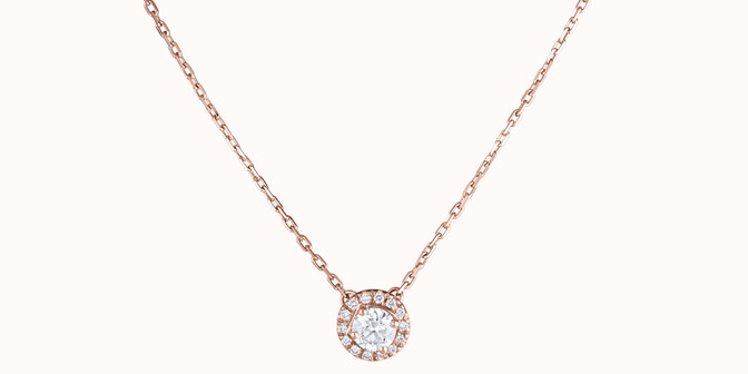 Collier Halo - Or rose 18K (4,00 g), diamants 0,30 ct