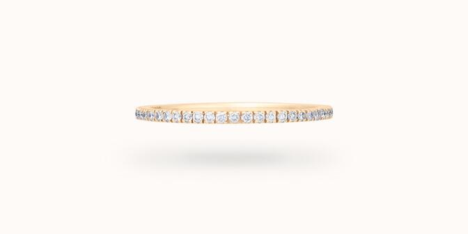 Alliance full-pavée (1 mm) - Or jaune 18K (1,00 g), diamants 0,30 ct - Face