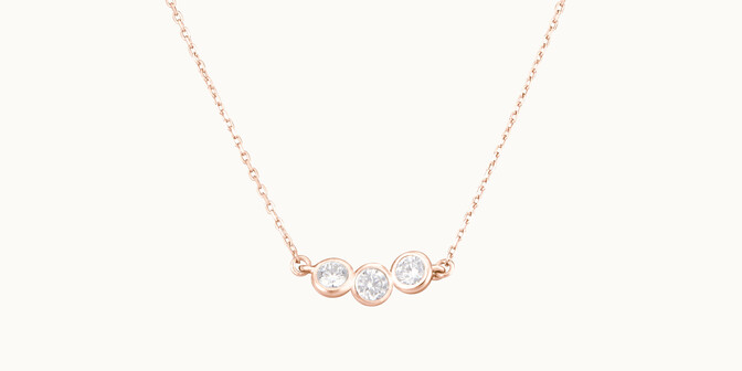 Collier 2 COURBET en or rose 18K - diamants synthétiques - Courbet - Courbet