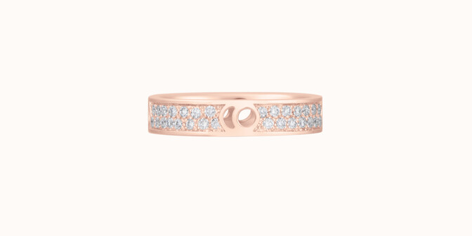 Bague Eclipse petit modèle - Or rose 18K (4,20 g), diamants 0,55 ct - Face