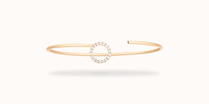 Bracelet O2 -Or jaune 18K (4,00 g), diamants 0,18 cts - Face