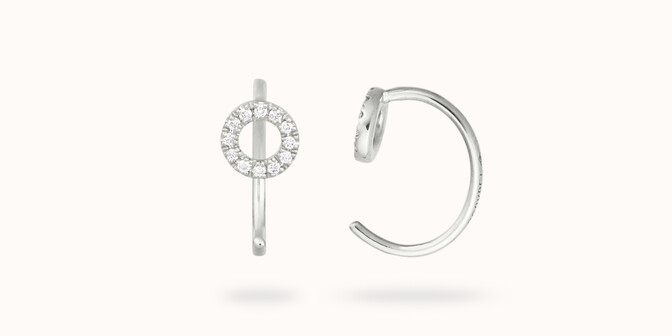 Boucles d'oreilles - Or blanc 18K (1,50 g), diamants 0,12 cts