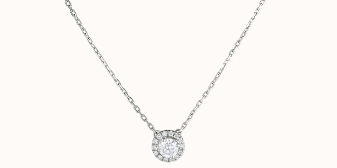 Collier Halo - Or blanc 18K (4,00 g), diamants 0,30 ct