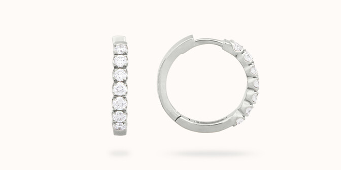Boucles d'oreilles - Or blanc 18K (4,20 g), diamants 0,70 carat - Courbet
