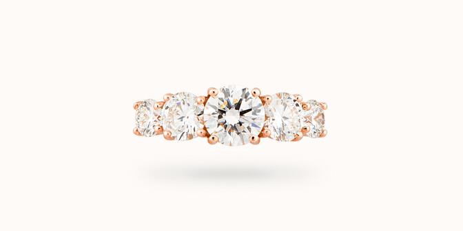 Bague solitaire Quintet - Or rose 18K (4,50 g), 5 diamants 1,20 cts - Face