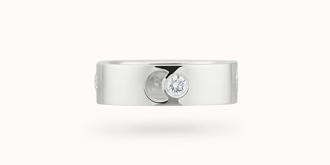 Bague Eclipse grand modèle - Or blanc 18K (7,80 g), 4 diamants 0,40 ct - Face - Courbet