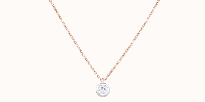 Collier Origine - Or rose 18K (1,70 g), diamant 0,10 ct