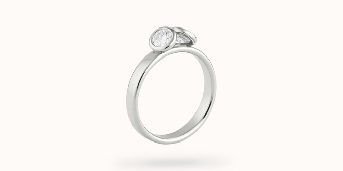 Bague 2 Courbet - Or blanc 18K (3,50g), 2 diamants 0,5 ct