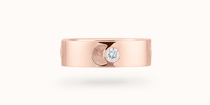 Bague Eclipse grand modèle - Or rose 18K (7,80 g), 4 diamants 0,40 ct - Face - Courbet