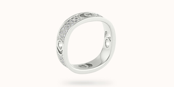 Bague Eclipse grand modèle - Or blanc 18K (7,80 g), diamants 0,70 ct - Côté