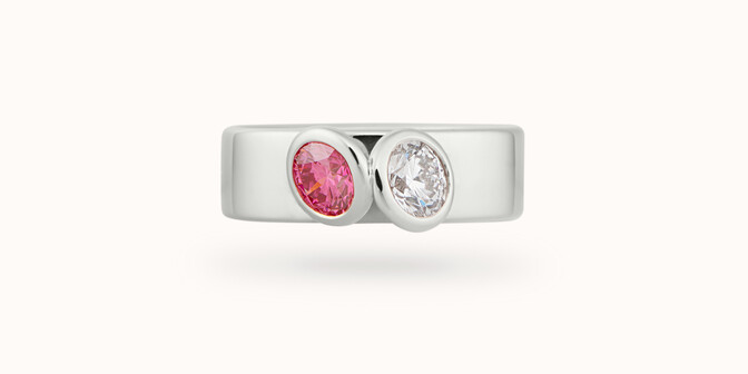 Bague 2 Courbet - Or blanc 18K (7,00g), 2 diamants (1 rose) 1ct - Face - Courbet