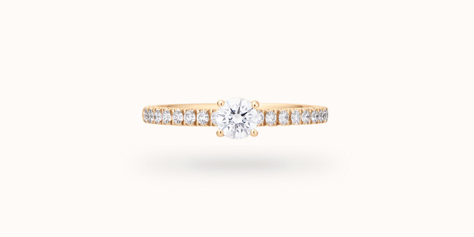 Solitaire quatre griffes - Or jaune 18K (2,20g) - diamants 0,3 cts - Face - Courbet