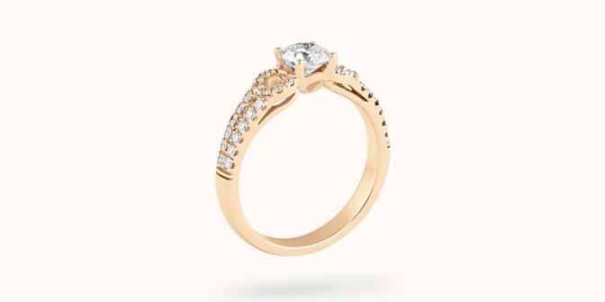Bague fiançailles Infinity - Or jaune 18K (3,90 g), diamants 0,70 ct - Côté