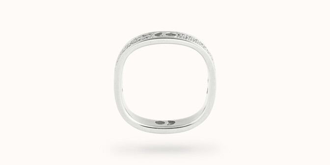 Bague Eclipse petit modèle - Or blanc 18K (4,20 g), diamants 0,55 ct - Profil