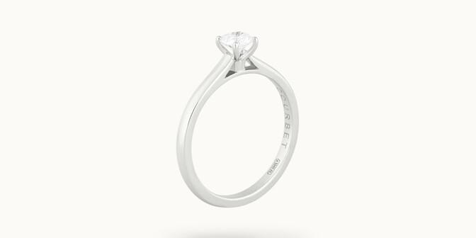 Solitaire quatre griffes - Or blanc 18K (2,70 g), diamant 0,1 carat - Côté - Courbet