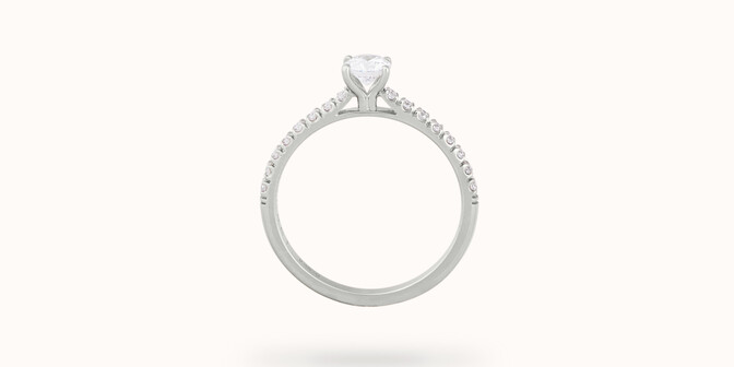 Solitaire quatre griffes - Or blanc 18K (2,20 g), diamants 0,1 cts - Profil - Courbet