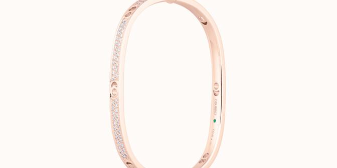 Jonc Eclipse petit modèle - Or rose 18K (24,00 g), diamants 1,45 cts - Côté - Courbet