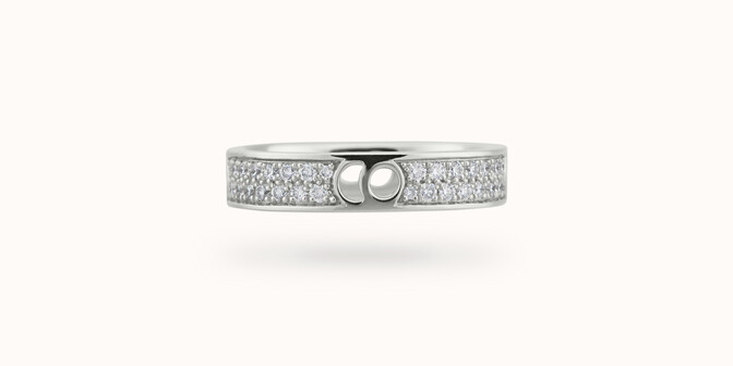 Bague Eclipse petit modèle - Or blanc 18K (4,20 g), diamants 0,55 ct - Face