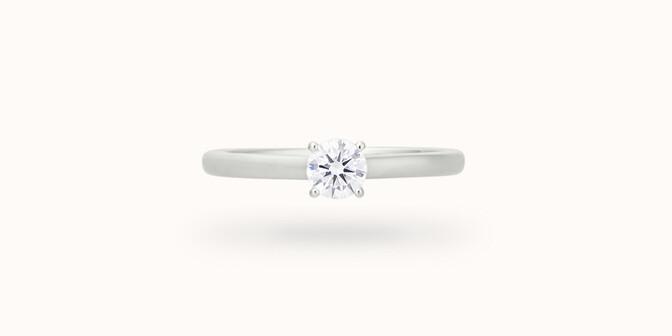 Bague solitaire quatre griffes - Or blanc 18K (2,70 g), diamant 0,10 ct - Courbet
