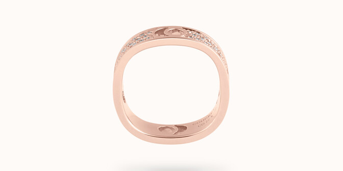 Bague Eclipse grand modèle - Or rose 18K (7,80 g), diamants 0,70 ct - Profil - Courbet