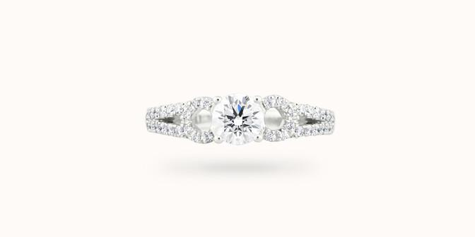 Bague fiançailles Infinity - Or blanc 18K (4,00 g), diamants 1,05 cts - Face - Courbet