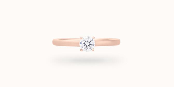 Bague solitaire quatre griffes - Or rose 18K (2,70 g), diamant 0,10 ct - Courbet