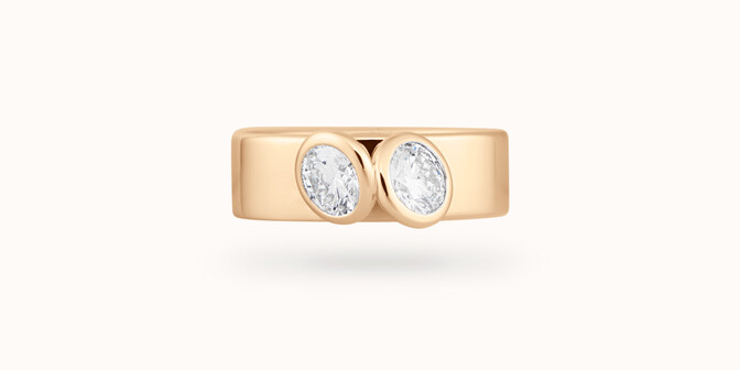 Bague 2 Courbet - Or jaune 18K (7,00g), 2 diamants 1ct- Face