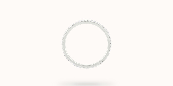 Alliance full-pavée (1 mm) - Or blanc 18K (1,00 g), diamants 0,30 ct - Profil - Courbet