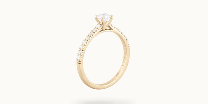 Solitaire quatre griffes - Or jaune 18K (2,20g) - diamants 0,3 cts - Côté - Courbet